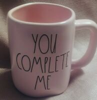 """New RAE DUNN Valentines Day LL """"YOU COMPLETE ME"""" Pink Mug By Magenta"""