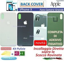 BACK COVER SCOCCA POSTERIORE PER APPLE IPHONE X NERO BIANCO VETRO GRANDE FORO