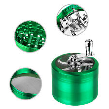 """Herb Grinder Crusher for Tobacco 4 Piece 2.5"""" Zinc Alloy Hand Muller Spice Aqua"""