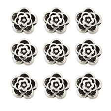 100pcs Antique Silver Tibetan Alloy Rose Flower Bead Spacer Jewelry Findings 7mm