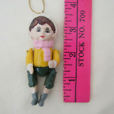 Vtg Jointed Wooden BOY PUPPET DOLL Dollhouse Toy Artisan Christmas Ornament 4''
