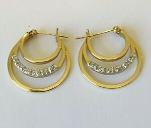 14K Yellow Gold Diamond Stud Triple Hoop Pierced Earrings 2.83gm