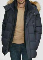 Marc New York Quilted Down Parka Jacket Men Large FauxFur Trim Blue Snorkel $495