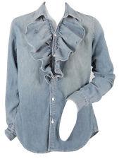 NEW! $245 Polo Ralph Lauren Womens Distressed Denim Ruffle Front Shirt!  8