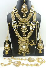 WHITE PEARL GOLD TONE SEMI BRIDAL RANI HAAR NECKLACE SET BOLLYWOOD JEWELRY 8 PCS