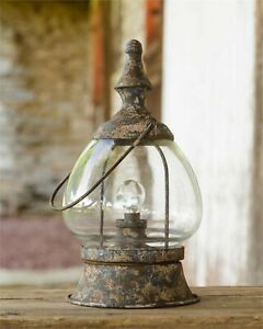 Primitive new Carriage led Lantern in rustic chippy Tin - battery operated
