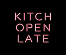 """13"""" Kitch Open Late Pink Neon Sign Light Beer Bar Pub Lamp Display Glass Decor"""