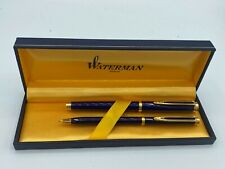 WATERMAN GENTLEMAN Blue Lacquer Rollerball + Pencil 2pc set Boxed