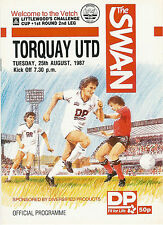 Swansea City v Torquay  25 Aug 1987 FOOTBALL PROGRAMME League (Littlewoods) Cup