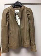 Pam And Gela Skaist Taylor Taupe Leather Moto Jacket SzL NWT