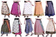 """Vintage Indian Magic Long Wrap Skirt 36"""" Sari Silk 2 Layer Maxi  Wholesale lot"""