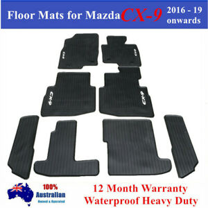 Heavy Duty Rubber Floor Mats for Mazda CX-9 CX9 2016 - 2021 7 Seats 3 rows