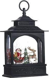 "Raz Imports 11"" Lighted Christmas Water Lantern, Santa Claus & Sleigh (3740513)"