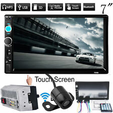 "7"" HD TouchScreen Double 2DIN Car Stereo Player FM Bluetooth Radio Camera US VP"