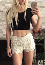 ⭐️ Womens BARDOT Brand Size 8 Cream Lace Layer High Waist Shorts EUC ⭐️