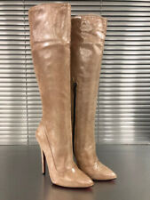 MORI MADE IN ITALY HIGH HEEL KNEE BOOTS STIEFEL STIVALI SUEDE LEATHER SALMONE 43