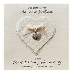 Handmade PERSONALISED Pearl 30th Wedding Anniversary Card - Heart Charm