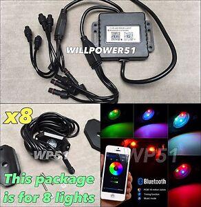 8 RGB cree LED Puddle Rocker Light Bluetooth APP Under Car Interior Glow Kit USG