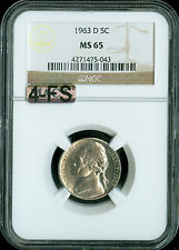1963-D JEFFERSON NICKEL NGC MAC MS65 4-FS EXTREMELY RARE DOES NOT EXIST IN 5FS .