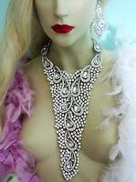 Breastshield Bib Necklace Rhinestone Crystal Earrings 9.5 Inch Drop