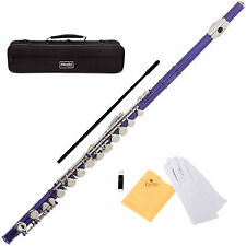 MENDINI PURPLE LACQUERED C FLUTE 16 KEY w/Split E CLOSED HOLE -MFE-PL