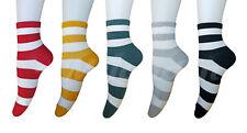 AM Landen Women Super Cute 5 pairs Set 5 color All Striped Ankle Socks