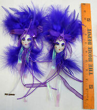 Lady Face ceramic mardi gras set of pins