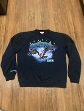 Mitchell & Ness Mens Black Seattle Seahawks Throwback Sweatshirt Large Vintage