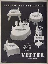 PUBLICITÉ 1959 VITTEL EAU MINÉRALE SUR TOUTES LES TABLES - J.JACQUELIN