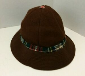 Brown Wool Felt Child's Vintage Hat Ear Flaps WPL 8388 - Defects
