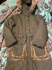 Floriane Size 4 Girls Army Green Winter Coat With Fur