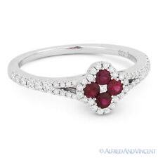 Pave 18k White Gold Right-Hand Flower Ring 0.59 ct Round Cut Red Ruby & Diamond