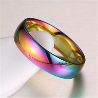 Hematite Titanium Steel Rainbow Colorful Rings Engagement Wedding Band Rings