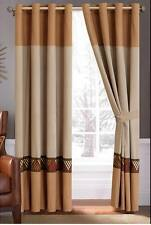 Modern 2 Pc Lattice Embossed Taupe Coffee Yellow Red White Grommet Curtain Set