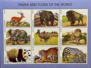 LESOTHO WILD ANIMALS STAMPS 1998 MNH FAUNA WILDLIFE TIGER LION BEAR ELEPHANT