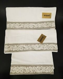 AVANTI 3PC SET EMBROIDERED IVORY,CREAM+TAUPE,GRAY COTTON 2 HAND TOWELS+FINGERTIP