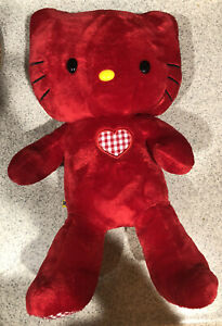 """Limited edition Build-A-Bear Red 18"""" HELLO KITTY Sanrio Gingham Red check Plush"""