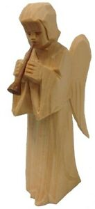 Angel Playing the Flute Natural German Hand Carved Wood Christmas Figurine