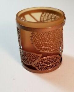 NEW YANKEE CANDLE AMBER LEAVES COPPER LEAF TEA LIGHT HOLDER SLEEVE GLASS - METAL