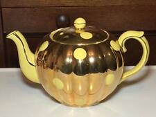Gibsons Staffordshire Yellow and gold polka dot teapot made in England