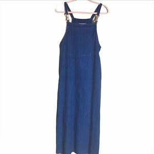60/% BIG XMAS SALE Vintage 80s Coldwater Creek Blue Jean Denim Country Overall Sleeveless Tank Pocket Maxi Length Dress Sz 12 Large Petite