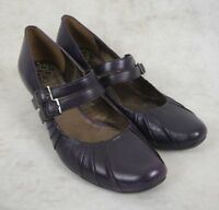 Clarks Black Ash Purple Leather Mary Janes Style Mid Heel Shoes Size UK 7 Buckle