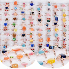 10pcs Wholesale Mix Lots Cute Crystal Children Kids Silver Adjustable Rings