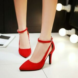 Womens Pointed Toe High Heels Suede Fabric Ankle Strap Stiletto Wedding Shoes