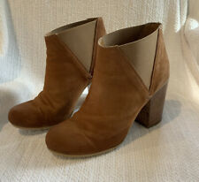 MIDAS Tan Leather Block Heel Ankle Boots With Wooden Heel - Size 39