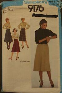 Vintage Retro Simplicity Pattern 9176 - Misses Skirts - Size 16