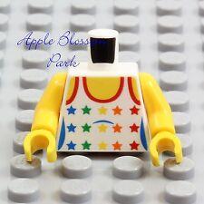 NEW Lego Female GIRL MINIFIG TORSO - White Yellow w/Rainbow Stars Tank Top Shirt