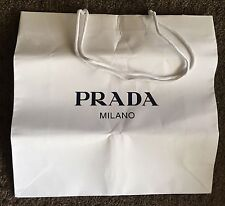 Prada Milano Paper Shopping Bag Jewellery Hand White Black Logo Large NEW
