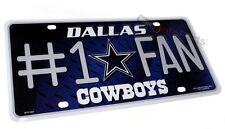 DALLAS COWBOYS FOOTBALL NFL #1 FAN LICENSE PLATE ALUMINUM METAL CAR TRUCK TAG