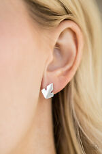 Silver Earrings Fire Drill Paparazzi Jewelry Flame High Sheen
